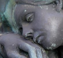 statue of grief and consolation at the Monumental Cemetery of Staglieno  Sticker