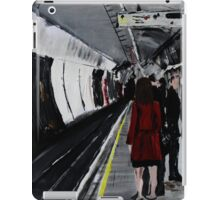 London Underground Urban Cityscape Subway Station Red Coat Woman Contemporary Acrylic Painting iPad Case/Skin
