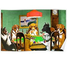 Dogs Playing Poker Cards  Poster