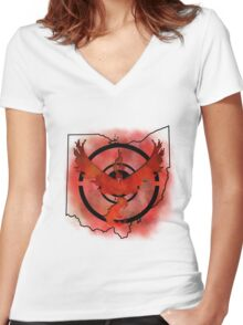 Pokemon Go Team Valor Ohio Women's Fitted V-Neck T-Shirt