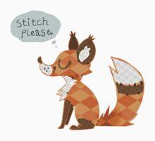 """Stitch Please"" -- Red Fox Patchwork Line Baby Tee"
