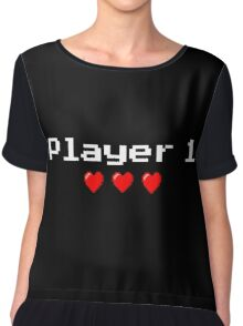 Player 1 couple's logo - Black background Chiffon Top