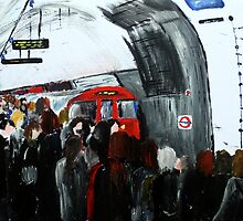 London Underground Urban Cityscape Red Train Subway Station Contemporary Acrylic Painting by JamesPeart