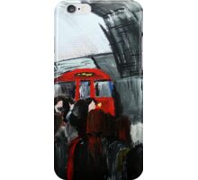 London Underground Urban Cityscape Red Train Subway Station Contemporary Acrylic Painting iPhone Case/Skin