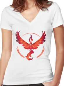 Team Valor Low Poly Women's Fitted V-Neck T-Shirt