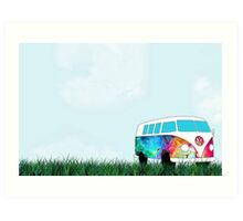 VW Rainbow Hippie Bus! Art Print