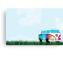 VW Rainbow Hippie Bus! Canvas Print