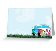 VW Rainbow Hippie Bus! Greeting Card