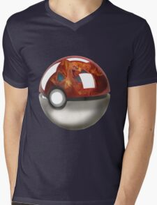 Pokeball Crystal Ball - Charizard Mens V-Neck T-Shirt