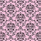 Elegant Black Damask Pattern Girly Pink Feminine by Beverly Claire Kaiya