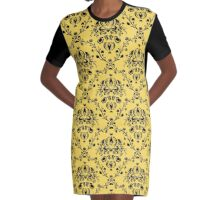 Elegant Black Damask Pattern Girly Yellow Feminine Graphic T-Shirt Dress