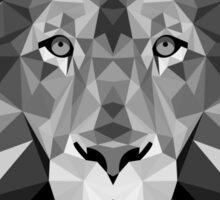 Geometric Monochrome Black and White Lion Sticker