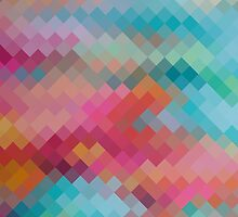 Colorful Modern Geometric Diamond Pattern #2 by Nhan Ngo