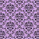 Elegant Black Damask Pattern Wisteria Lavender Feminine by Beverly Claire Kaiya