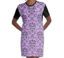 Elegant Black Damask Pattern Wisteria Lavender Feminine Graphic T-Shirt Dress