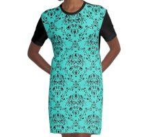 Elegant Black Damask Pattern Turquoise Feminine Graphic T-Shirt Dress
