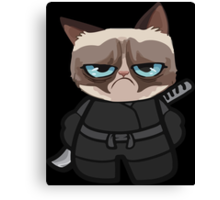 Grumpy Ninja Cat Canvas Print