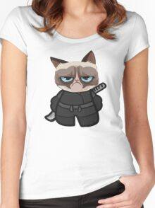 Grumpy Ninja Cat Women's Fitted Scoop T-Shirt