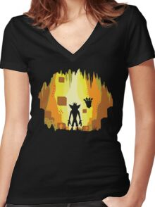 Wumpa World Women's Fitted V-Neck T-Shirt