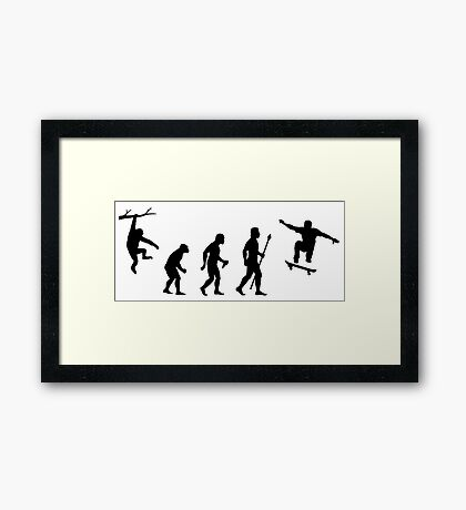 Funny Skateboarding Evolution Framed Print