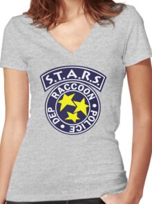 -GEEK- Raccoon Police Women's Fitted V-Neck T-Shirt