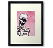 watercolor painting of a skeleton Framed Print