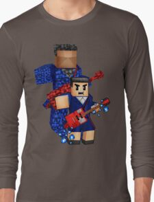 8bit boy with 12th Doctor shadow Long Sleeve T-Shirt