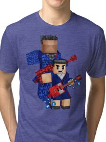 8bit boy with 12th Doctor shadow Tri-blend T-Shirt