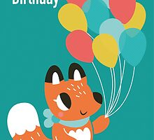 Happy Birthday Fox With Balloons by Claire Stamper