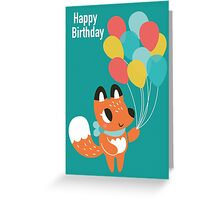 Happy Birthday Fox With Balloons Greeting Card