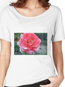 Pink rose on green natural background. Women's Relaxed Fit T-Shirt