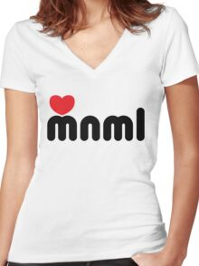 Love Minimal Music Quote Women's Fitted V-Neck T-Shirt
