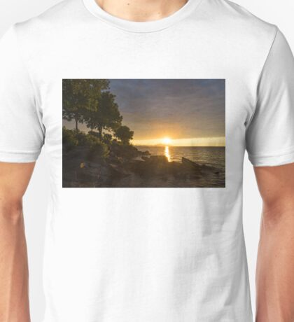 Summer Gold - Sparkling Sunrise on the Shore of Lake Ontario in Toronto Unisex T-Shirt