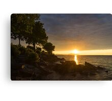 Summer Gold - Sparkling Sunrise on the Shore of Lake Ontario in Toronto Canvas Print