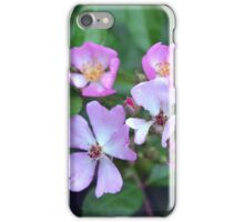 Small purple flowers on green leaves background. iPhone Case/Skin