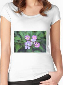 Small purple flowers on green leaves background. Women's Fitted Scoop T-Shirt