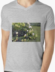 Bush of white flowers in the garden. Mens V-Neck T-Shirt
