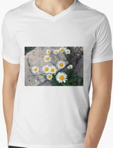 Beautiful small white flowers on the pavement. Mens V-Neck T-Shirt