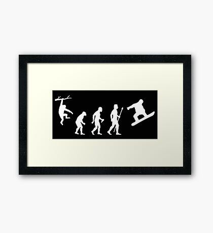 Funny Snowboarding Evolution Shirt Framed Print
