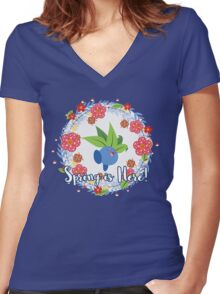 A Pokemon Spring is Here: Oddish Women's Fitted V-Neck T-Shirt