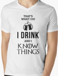 I Drink and I Know Things in White Mens V-Neck T-Shirt