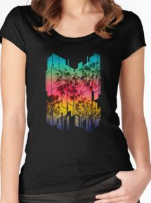 Colorful Geometric Sunset Summer Palm Beach Women's Fitted Scoop T-Shirt