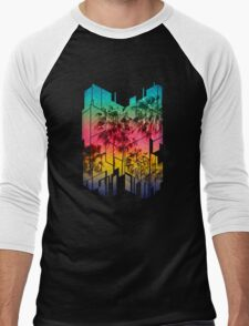 Colorful Geometric Sunset Summer Palm Beach Men's Baseball ¾ T-Shirt