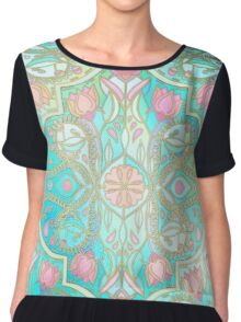 Floral Moroccan in Spring Pastels - Aqua, Pink, Mint & Peach Chiffon Top