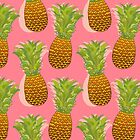 Pineapple Pop Art Pattern on Pink by Tangerine-Tane