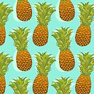 Pineapple Pop Art Pattern on Mint by Tangerine-Tane