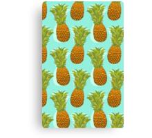 Pineapple Pop Art Pattern on Mint Canvas Print