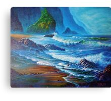 Crisp Morning light Wakens the Misty Coast Canvas Print