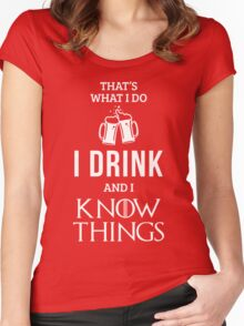 I Drink and I Know Things in Red Women's Fitted Scoop T-Shirt