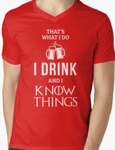 I Drink and I Know Things in Red Mens V-Neck T-Shirt